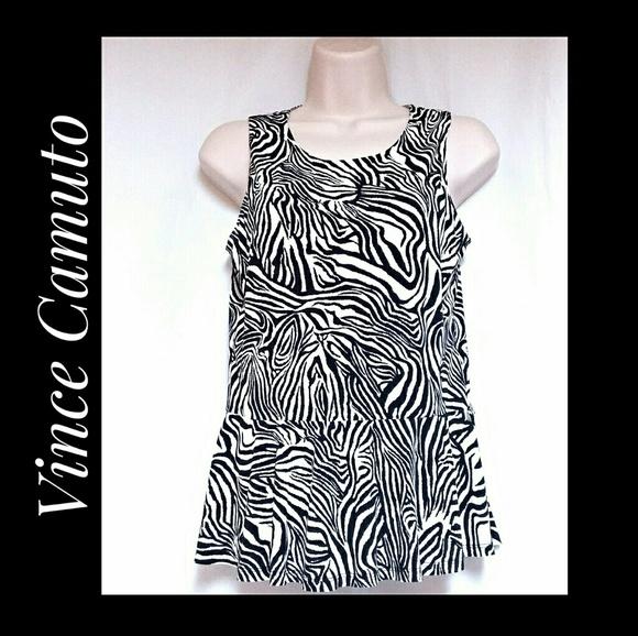 Vince Camuto Tops - Vince Camuto Zebra Print Peplum Top Size Small